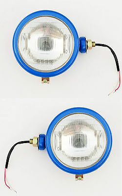 Ford TRACTOR Head Lamps 2000 3000 4000 5000 7000 in blue (set of 2) + BULB