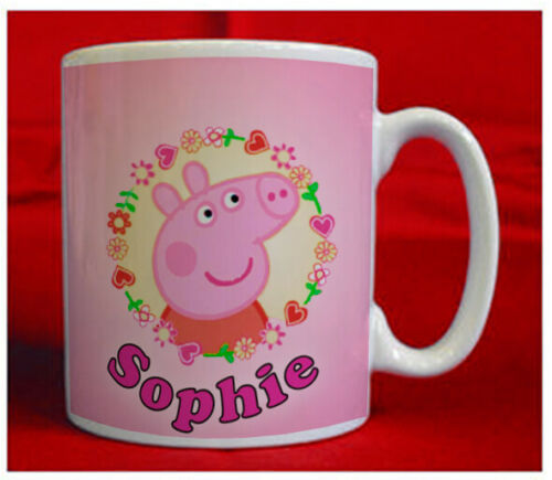 CHILDREN/'S NOVELTY PIG MUG GREAT  XMAS GIFT PRINTED WITH YOUR CHOICE OF NAME