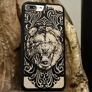 ETCHED-Laser-Engraved-Black-Wood-Case-Cover-Roaring-Lion-Artist-For-Phones