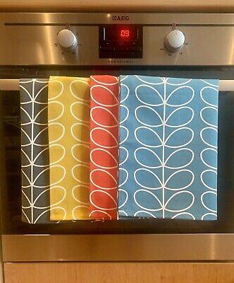 Dishcloths Kitchen Towels,set of 6 Orla Kiely Dark Blue Multi Stem Tea Towels