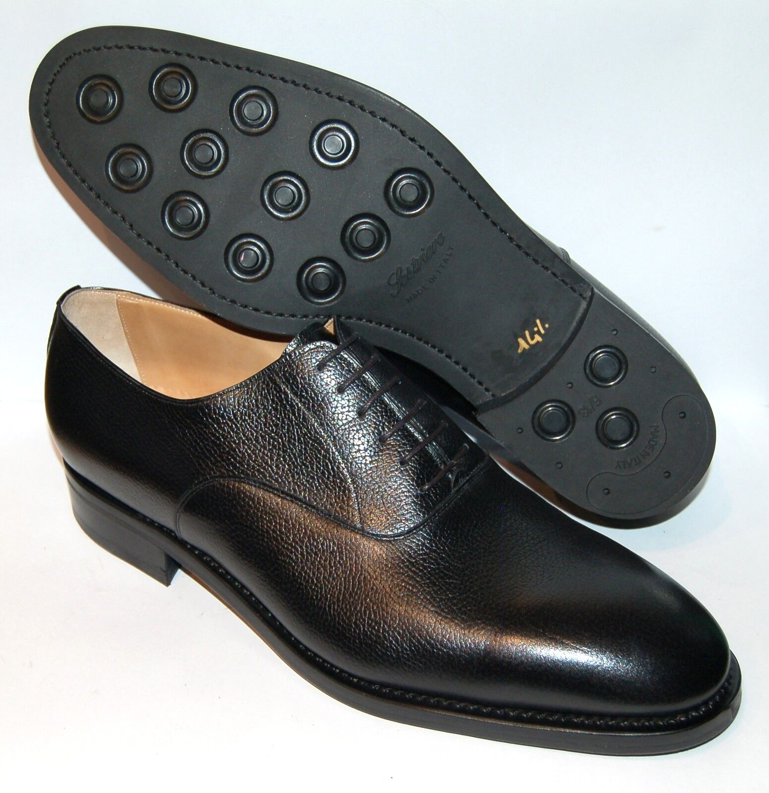 UOMO - PLANE OXFORD - 14½ eu - BLACK CALF- LEATHER SOLE + SESTRIERE RUBBER SOLE