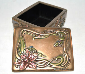 Art Nouveau Orchid Jewelry Box Flower Trinket Display Holder Statue