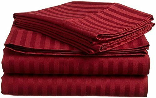 Egyptian Cotton 800 TC Burgundy  Stripe Sheet Set Duvet Fitted Pillow 15  Drop