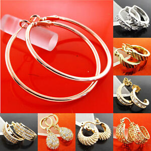 Details About Gold Earrings Hoops 18k Yellow Rose White G F Diamond Simulated Huggie Design