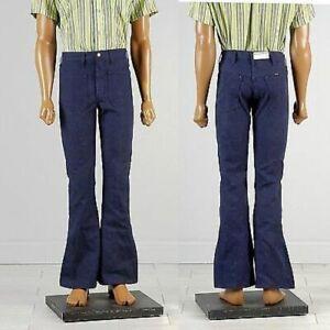 30x32-Mens-NOS-Sanforized-High-Rise-Indigo-Dark-Denim-Jeans-Bell-Bottoms-70s-VTG