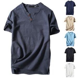 Fashion-Herren-Bluse-Tops-T-shirt-V-Ausschnitt-Shirt-Hemd-Cotton-Linen-Henley