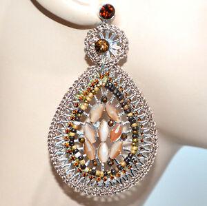 ORECCHINI-donna-argento-filigrana-cristalli-strass-beige-oro-ambra-perline-BB31