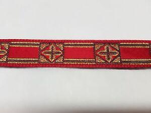 Vintage-Frances-Cruz-Diseno-Oro-Burdeos-de-Recorte-Vestment-1-3cm-Ancho-4-6m