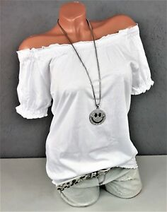 Suesses-Carmen-Shirt-Off-Shoulder-schulterfrei-Smoke-Bluse-in-weiss-Gr-36-38