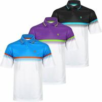 NEW 2017 ISLAND GREEN CHEST STRIPE LC AND LS PERFORMANCE MENS GOLF POLO SHIRT