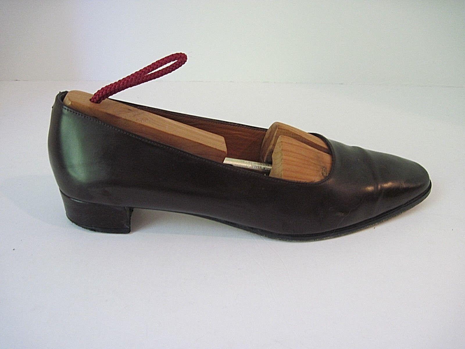 Vintage RALPH LAUREN Dark marrone Pelle Classic Flats Low Heel Flats Classic Spain Taglia 7B a89c4d