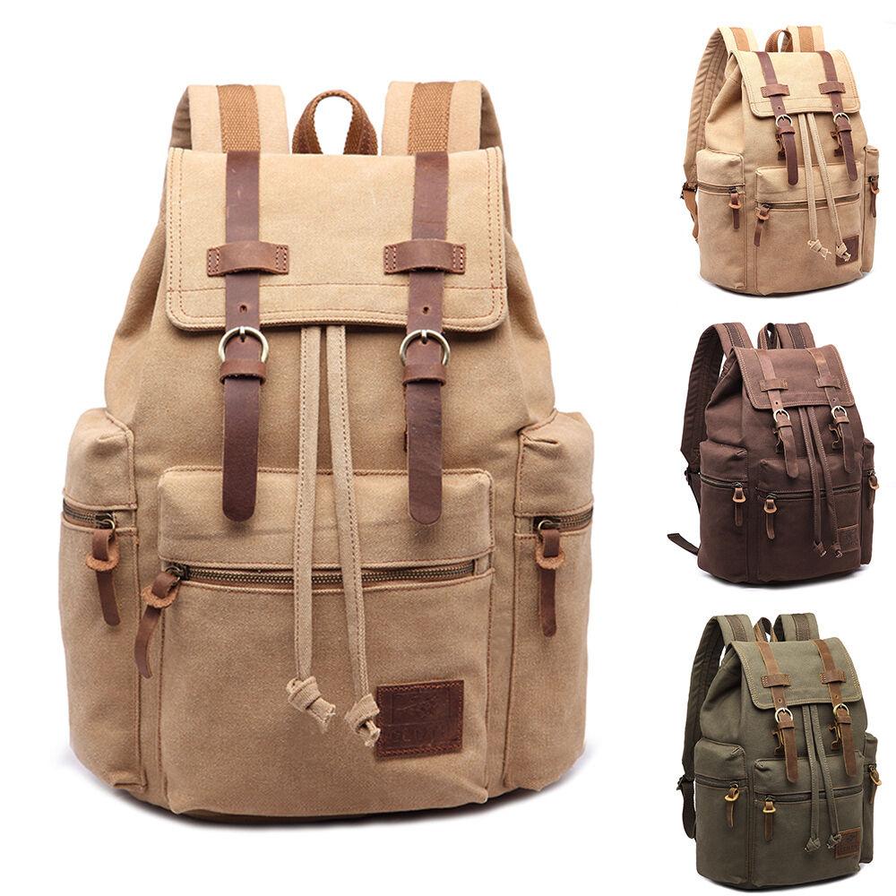 Vintage Retro Canvas Backpack Travel Sport Rucksack Satchel Hiking Sch... - s l1600