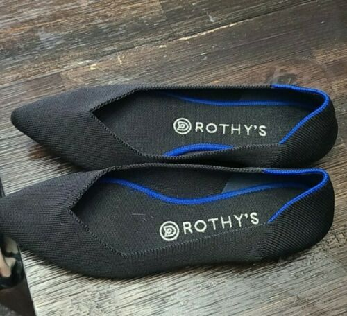 Rothys BLACK Pointed Toe Flats The Point Blue Hal