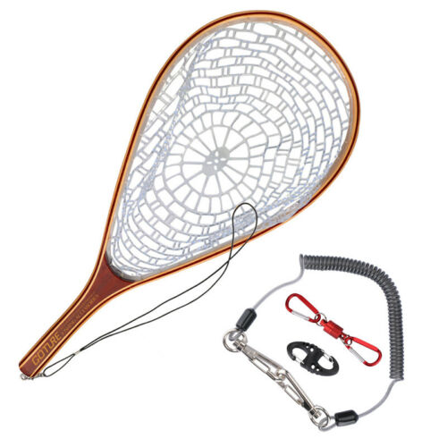 Goture Fly Fishing Landing Net Rubber Mesh Wooden Frame Hand Net /& Lanyard Rope