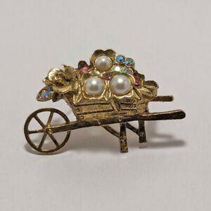 1928-Wheelbarrow-Flowers-Faux-Pearls-Aurora-Borialis-AB-Rhinestone-Brooch-Pin-GT