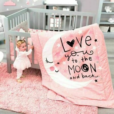 NEW Baby Girl Coral Pink White black Moon & Stars Girl Crib Bedding Nursery  Set | eBay
