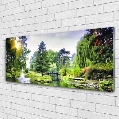 Wandbilder Glasbilder Druck auf Glas 125x50 Wald Wasserfsll Sonne Natur