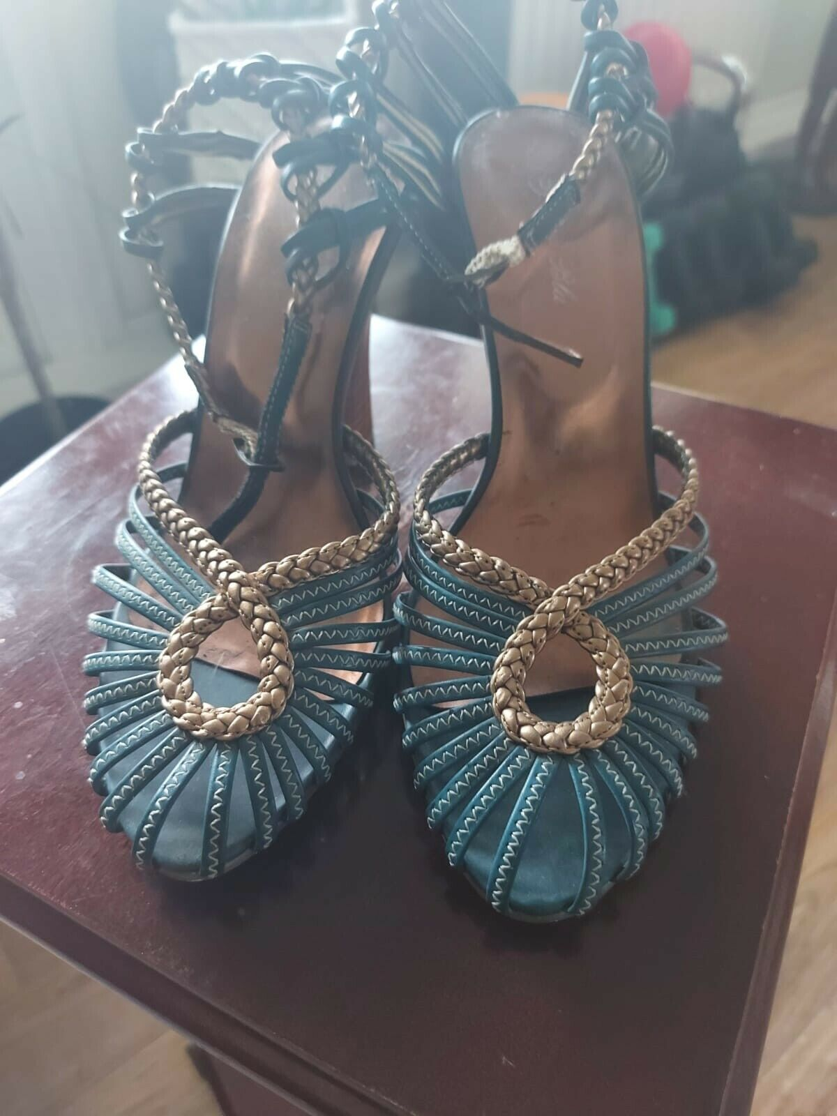 Vintage Turquoise Blue With Gold Platting Shoe