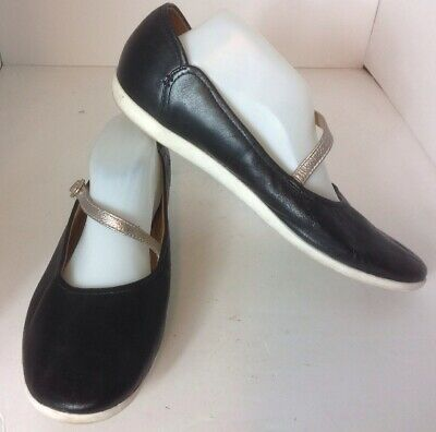 Clarks Collection Helina Amo Black Leather Mary Janes Shoes Sz 9.5 Flats Cushion | eBay