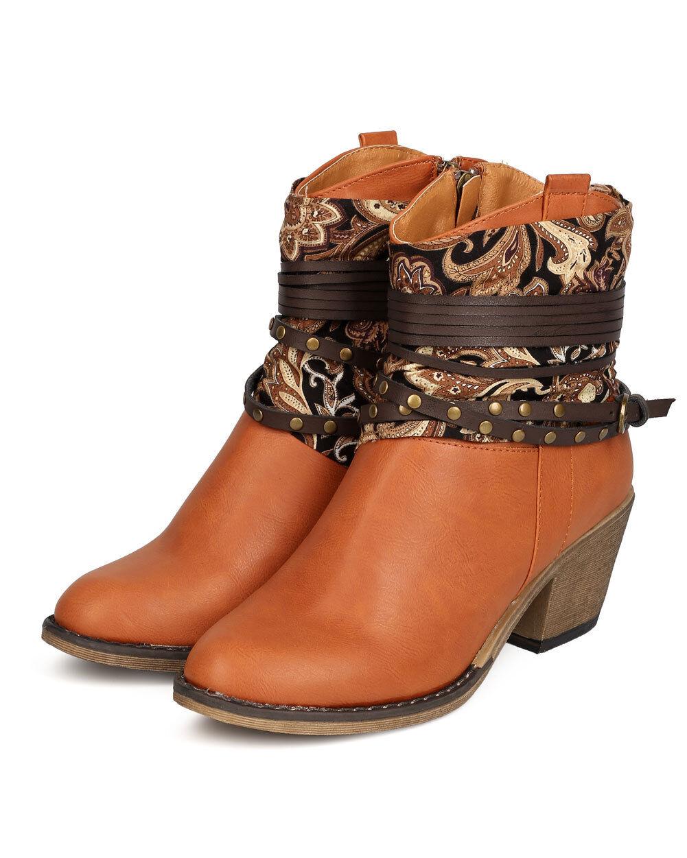 Nature Breeze Dallas-10 Women PU Paisley Wraparound Studded Cowboy Bootie