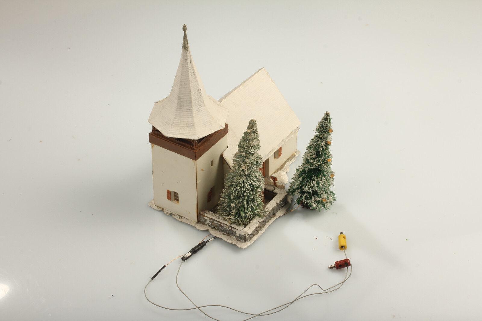 H0 Bonita Invierno Iglesia de la Aldea Nieve + Luminoso Abeto - Suciedad
