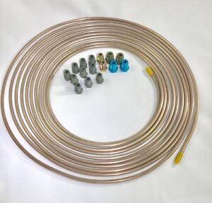 25-ft-Copper-Nickel-3-16-034-Brake-Line-w-metric-ISO-Bubble-Flare-fittings