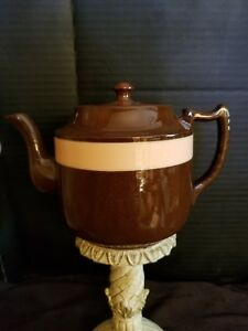 Vintage-Brown-Betty-Style-Teapot-with-Single-Pink-Stripe-made-in-England