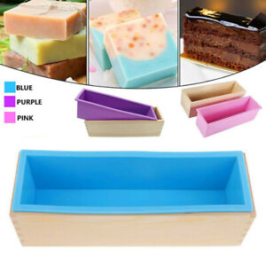 Wood Loaf Soap Mould with Silicone Mold Cake Making Wooden Box 1.2kg soap HE