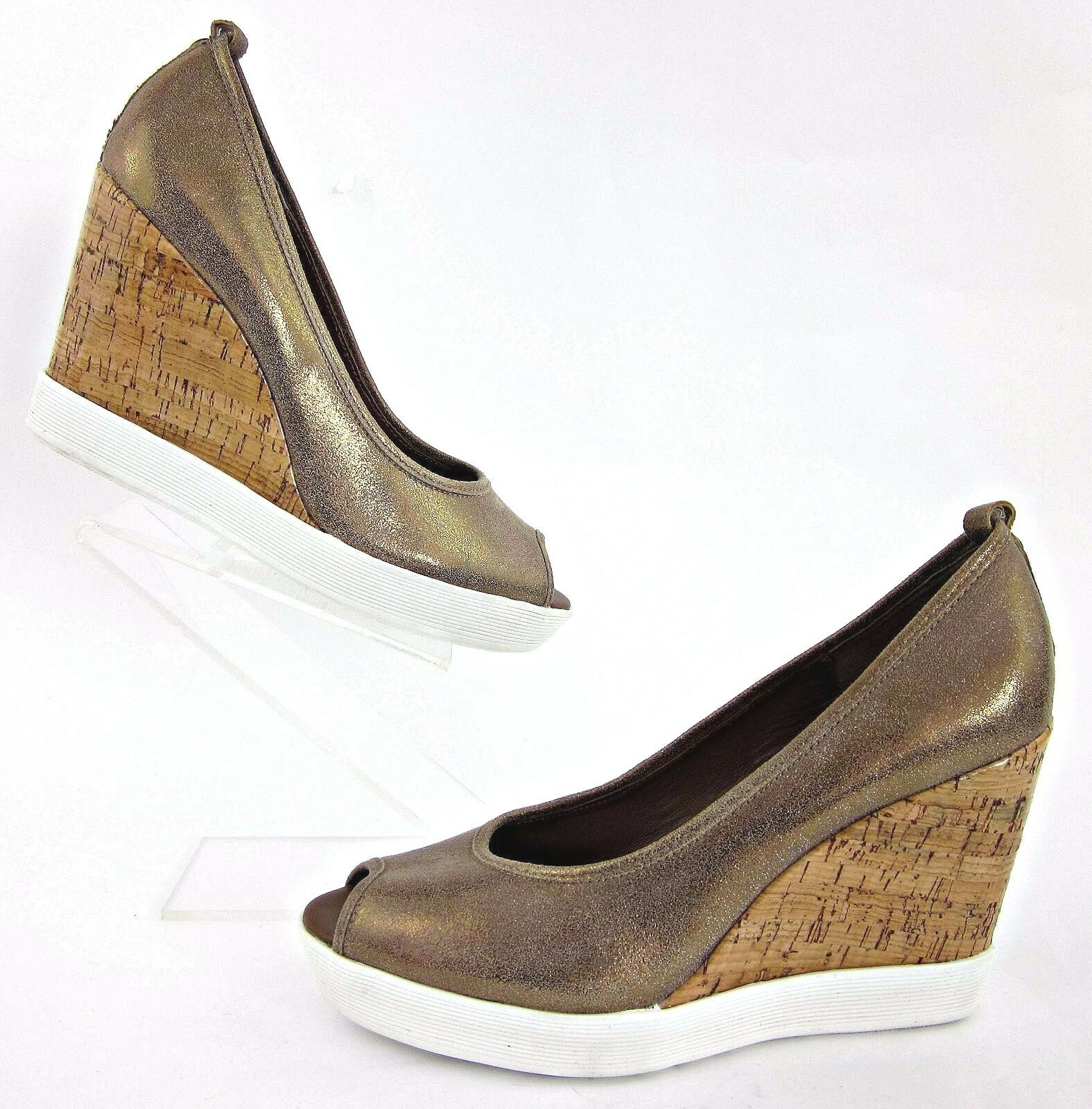Donald J Pliner 'Carli' Peep Toe Cork Wedges Shimmer Bronze Sz 10M