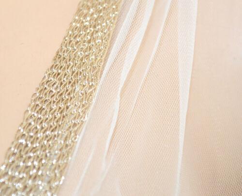 STOLA BIANCA ORO donna coprispalle sposa maxi foulard strass cerimonia velo 55Z