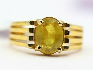 4.68 Ct Natural Yellow Sapphire Ring 18 k yellow Gold Real Gemstone Fine Jewelry