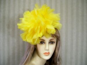 632fe2ca873b2 Image is loading Yellow-Kentucky-Derby-Feather-Fascinator-Hat-Easter-Hat-