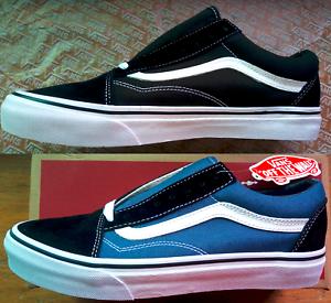 Vans-Old-Skool-Black-Blue-amp-White-Canvas-Suede-Skate-Shoes-Sneakers-VN000D3HY28