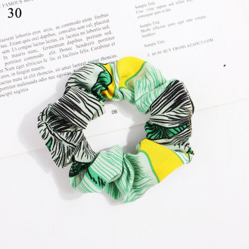 Girl Hair Rope Striped Floral   Scrunchies Satin Hair Tie Casual   Hair Ring