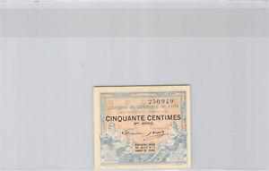 -kammer Handels- De Lyon 50 Cent 37.3.1919 Serie 9 N°250949 Reine WeißE