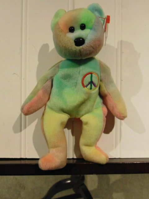 """TY Beanie Baby """"PEACE the Ty-Dyed Bear"""" (Green/Yellow)  *MWMT*"""
