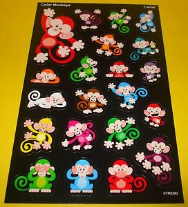 20-TREND-Cute-Color-Monkeys-REWARD-Stickers-Full-Sheet-Scrapbooking-Collectible