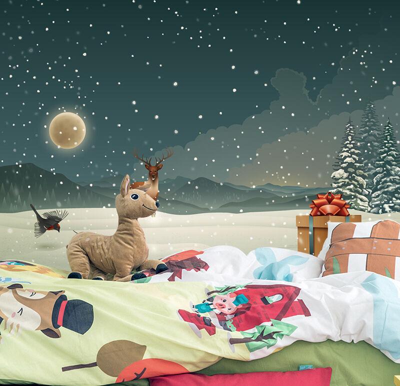 3D Weihnachten Vögel, Hirsche Fototapeten Wandbild BildTapete Familie DE