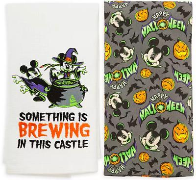 Disney Parks Halloween Vampire Mickey /& Sorcerer Minnie Dish Kitchen Towel NWT