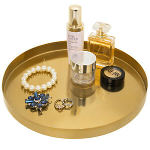 MyGift 11 in Brushed Brass Plated Metal Round Decorative Serving and Vanity Tray