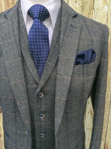 MEN-039-S-GREY-WOOL-MIX-TWEED-MIX-amp-MATCH-JACKET-WAISTCOAT-TROUSERS-SOLD-SEPARATELY