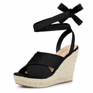 Allegra K Women's Espadrille Crisscross Platform Wedges Heel