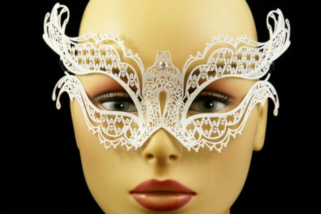 White Laser Cut Metal Butterfly Venetian Masquerade Porm Wedding Ball Party Mask