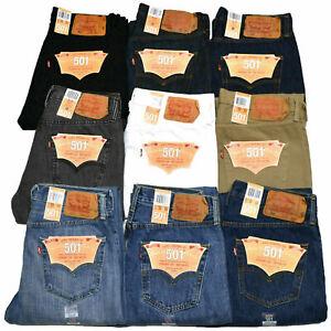 Levis-501-Jeans-Button-Fly-Mens-Denim-Stonewashed-W30-W32-W34-W36-W38