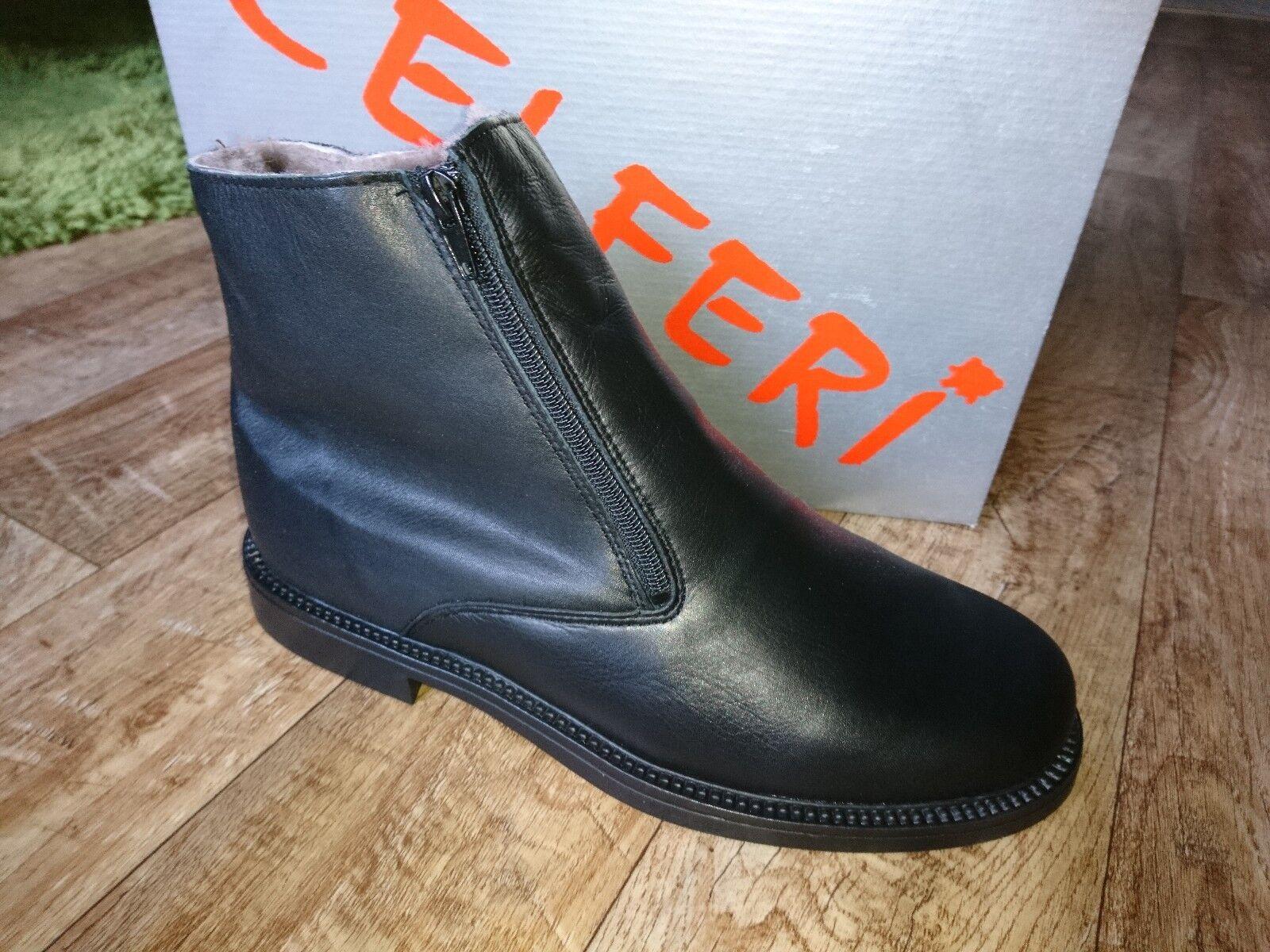 Herren Winter Stiefel Stiefelletten Boots Gefüttert  Schwarz Leder  NEU CELFERI