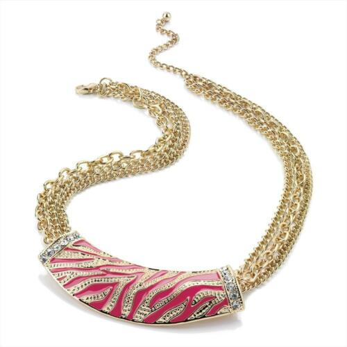 Gorgeous 3 row gold tone chain necklace /& pink enamel  crystal half moon pendant