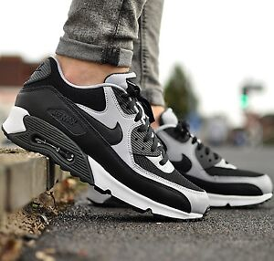 Details about NIKE AIR MAX 90 ESSENTIAL BlackGrey MEN'S RUNNING SHOE LIFESTYLE COMFY SNEAKERS