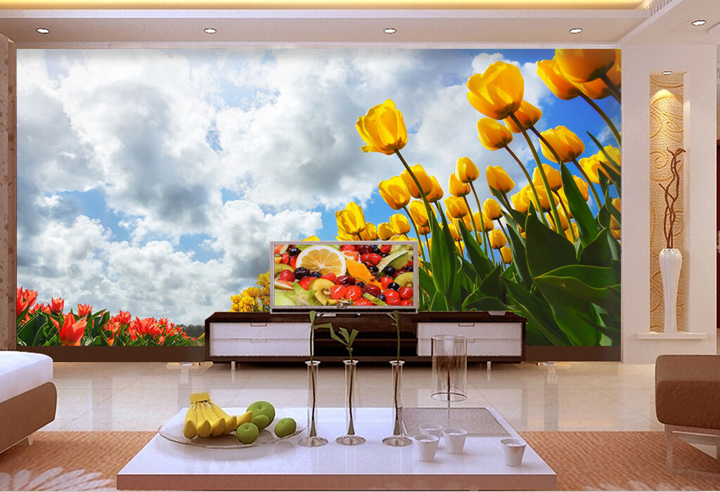 3D Weiß clouds Flower field Wall Paper Print Decal Wall Deco Indoor wall Mural