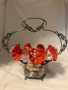 Beautiful-Antique-Victorian-art-Glass-Brides-Basket-silverplate-Ruffled-Edge-red