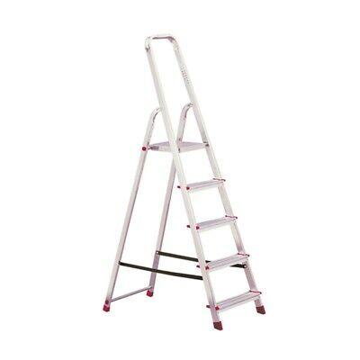 Krause Corda Alu Trittleiter Stehleiter 5 Stufen Standhöhe bis 1 m Klapptritt